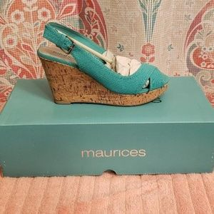 MAURICES SEA GREEN WEDGES